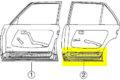 Türboden hinten links, verwendbar bei W123-Limousine und W123-T-Modell